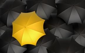 selective coloring, minimalism, yellow, umbrella, digital art, pattern