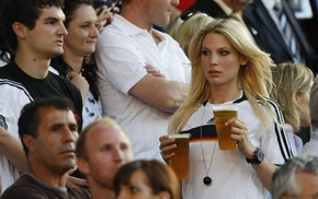 Sarah Brandner, beer, sports jerseys, Germany, blonde, model