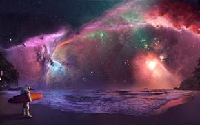 stars, surfing, space, astronaut, nebula, Astronauta