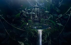 vines, artwork, green, temple, nature, waterfall