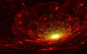 abstract, 3D, digital art, red, petals, fractal flowers