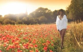 bottomless, flowers, girl outdoors, brunette, poppies, girl
