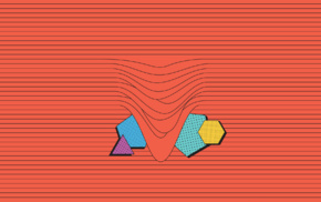 vertical lines, Com Truise, triangle, dots, digital art, abstract