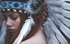 girl, face, feathers, Native Americans, redhead, headdress