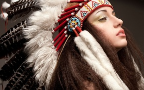 open mouth, model, feathers, long hair, simple background, Native Americans