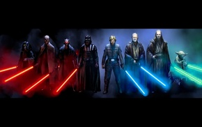 Star Wars, Obi, Wan Kenobi, Darth Maul, Luke Skywalker, Darth Vader