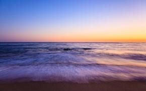 long exposure, sunset, motion blur, beach, minimalism