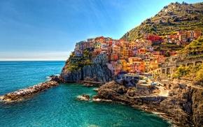 Cinque Terre, Italy, Manarola, town, building, HDR