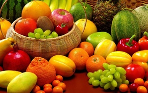 orange fruit, pineapples, tomatoes, grapes, baskets, peppers