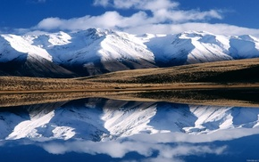 hill, reflection, lake, New Zealand, nature, mountain