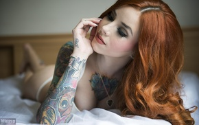 strings, redhead, chest tattoos, Mimsy, red lipstick, smoky eyes