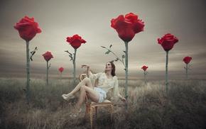 high heels, photo manipulation, brunette, girl, red flowers, model