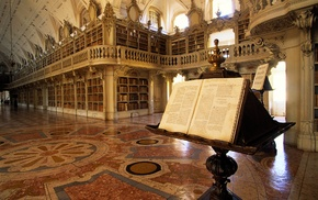 library, shelves, books, Portugal, architecture
