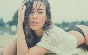 girl, brunette, beach, yellow eyes, model, juicy lips