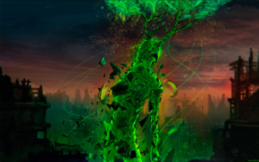 paint splatter, science fiction, Romantically Apocalyptic, futuristic, green, glowing