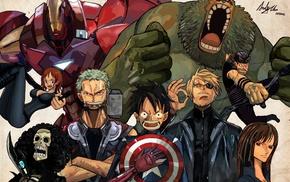 Black Widow, Nami, crossover, Thor, Tony Tony Chopper, One Piece