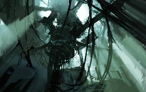 Portal 2, futuristic, machine, ruin, science fiction, concept art