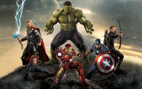 Captain America, Hulk, Iron Man, The Avengers, Black Widow, Hawkeye