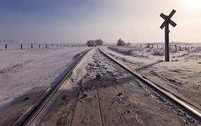 railway, snow, landscape, field, winter