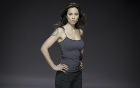tattoo, Continuum, Lexa Doig, gray background, tank top, actress