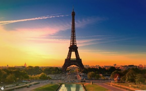 architecture, Paris, sky, contrails, sunset, tower