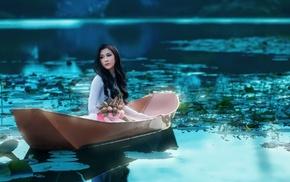 long hair, model, boat, Asian, water lilies, brunette
