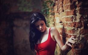 bricks, brunette, girl, tank top, model