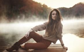 model, Asian, nature, black dress, brunette, short shorts