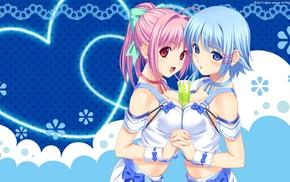 red eyes, anime girls, pink hair, blue hair, Tropical Kiss, blushing