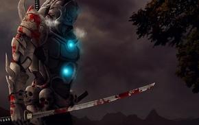 video games, blood, katana, warrior