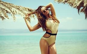 sunglasses, monokinis, sea, brunette, girl, Aleksandra Nar