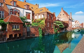 city, building, Bruges, river, Belgium