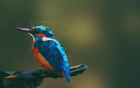 simple background, artwork, digital art, birds, geometry, kingfisher