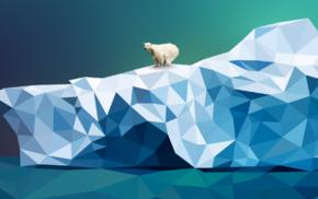 nature, ice, iceberg, polar bears, low poly, artwork