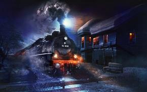 trees, fantasy art, bench, snow, steam locomotive, moonlight
