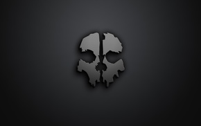 skull, minimalism, Call of Duty, Call of Duty Ghosts, artwork, gray background