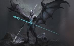 warrior, spear, dragon