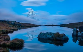 reflection, long exposure, clouds, Switzerland, nature, mountain