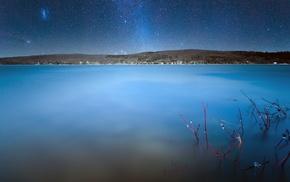 Quebec, night, house, stars, water, hill