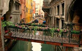 cityscape, Venice, canal, house, bridge, boat