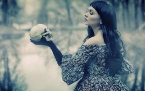 brunette, trees, airbrushed, William Shakespeare, black gloves, dress