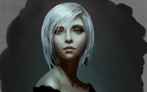 artwork, white hair, girl, face, blue eyes