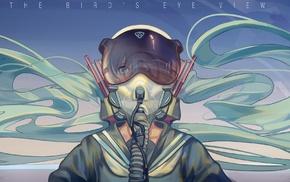 pilot, Hatsune Miku, Vocaloid, school uniform, aqua eyes, aqua hair