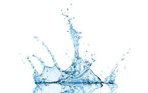 minimalism, blue, water drops, reflection, splashes, white background