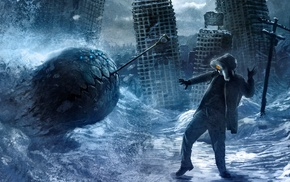 fantasy art, artwork, Romantically Apocalyptic, building, digital art, ruin