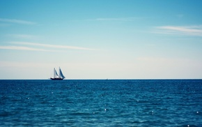 horizon, sailing ship, minimalism, sea, clouds, water
