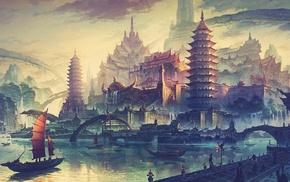 ship, city, boat, water, fantasy art, drawing