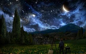 stars, The Starry Night, Vincent van Gogh, crescent moon, landscape, painters