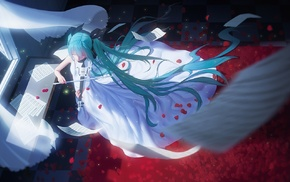 ribbon, flower petals, dress, twintails, paper, Hatsune Miku