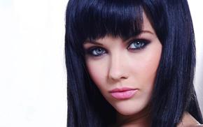 Melissa Clarke, brunette, face, model, blue eyes
